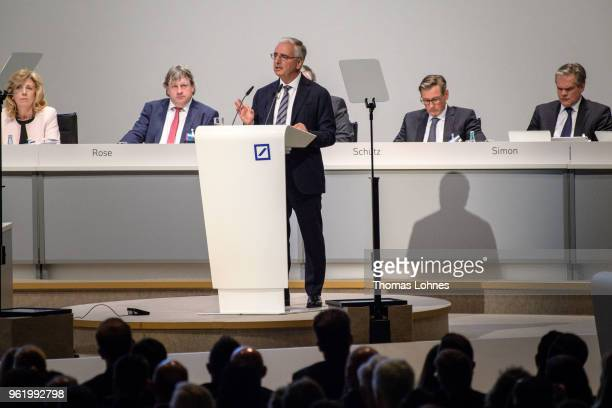 Paul Achleitner, Chairman of the Supervisory Board at Deutsche Bank, speeks at the Deutsche Bank annual shareholders' meeting on May 24, 2018 in...