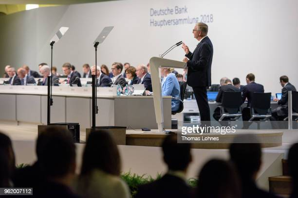 Paul Achleitner, Chairman of the Supervisory Board at Deutsche Bank, speaks at the Deutsche Bank annual shareholders' meeting on May 24, 2018 in...