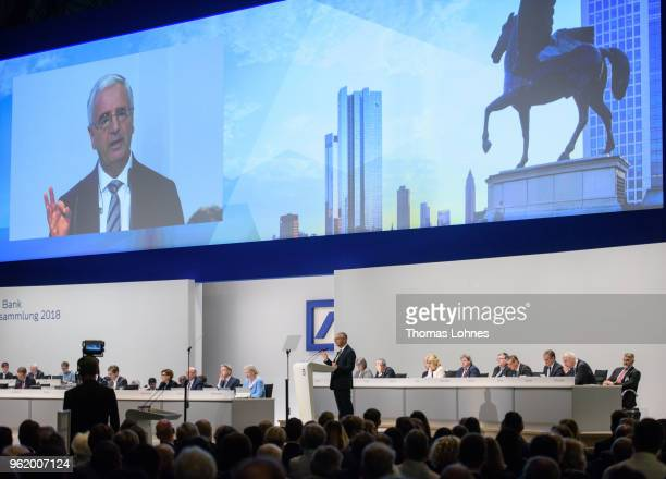 Paul Achleitner Chairman of the Supervisory Board at Deutsche Bank speaks at the Deutsche Bank annual shareholders' meeting on May 24 2018 in...