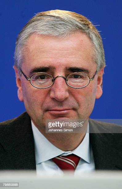 Paul Achleitner member of the board of the Allianz insurance group looks on during the announcement of the 2007 results on February 21 2008 in Munich...