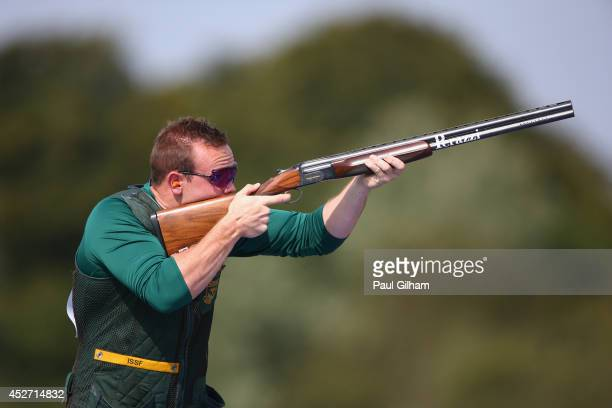Paul Adams of Australia competes in the Skeet Men's Shooting at Barry Buddon Shooting Centre during day three of the Glasgow 2014 Commonwealth Games...