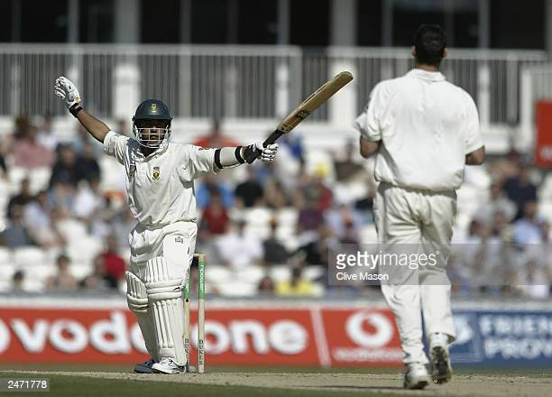 Paul Adams of South Africa hits out during the fifth day of the fifth npower test match between England and South Africa at The AMP Oval Cricket...