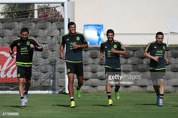 Paul Aguilar Javier Rodriguez Carlos Vela and Antonio Rios run during a Mexico National Team training session prior the beginning of Gold Cup 2015 at...