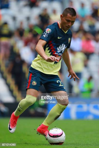 Paul Aguilar of America drives the ball during the 1st round match between America and Queretaro as part of the Torneo Apertura 2017 Liga MX at...