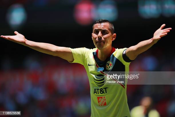 Paul Aguilar of America reacts during the 15th round match between Toluca and America as part of the Torneo Clausura 2019 Liga MX at Nemesio Diez...