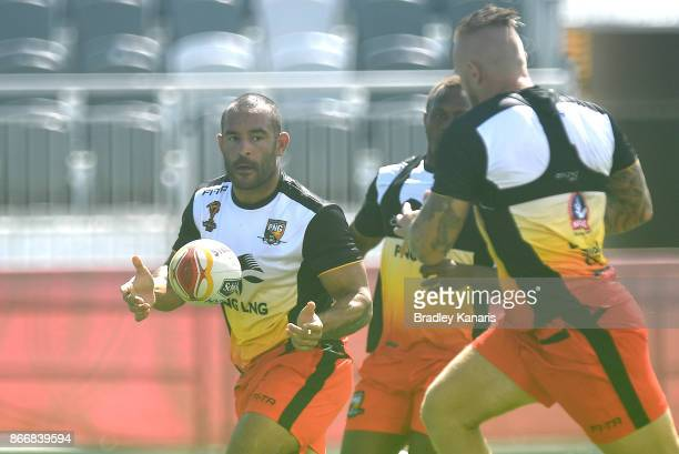 Paul Aiton passes the ball during a PNG Rugby League World Cup captain's run at the Oil Search National Football Stadium on October 27 2017 in Port...