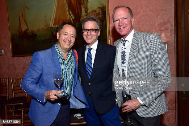 Paul Aizaga Barry Garalnick and Keith Gordon attend ELLE DECOR Celebration of Iconic French Style at the French Consulate on September 12 2017 in New...