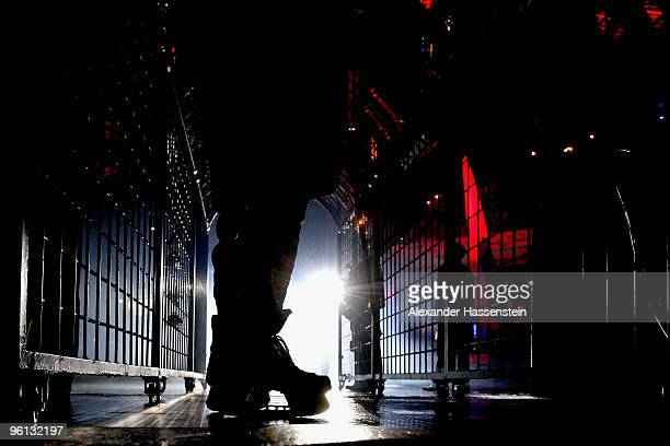 Paul Albers of Nurmberg waits outside the ice ring prior the DEL metch between Thomas Sabo Ice Tigers and Augsburger Panther at the Arena Nuernberger...
