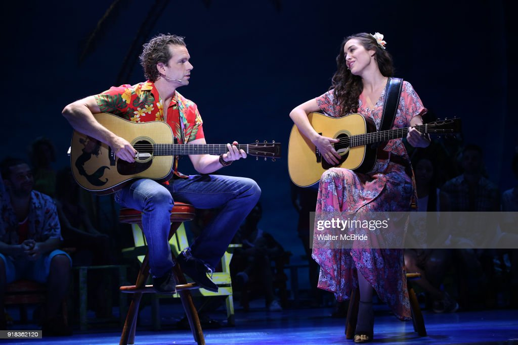 Paul Alexander Nolan and Alison Luff perform at the Press Sneak Peak for the Jimmy Buffett Broadway Musical 'Escape to Margaritaville' on February 14, 2018 at the Marquis Theatre in New York City.