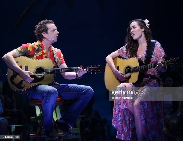 Paul Alexander Nolan and Alison Luff perform at the Press Sneak Peak for the Jimmy Buffett Broadway Musical 'Escape to Margaritaville' on February 14...