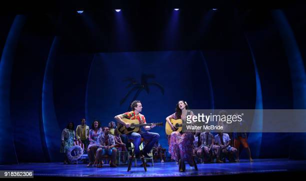 Paul Alexander Nolan and Alison Luff with cast perform at the Press Sneak Peak for the Jimmy Buffett Broadway Musical 'Escape to Margaritaville' on...