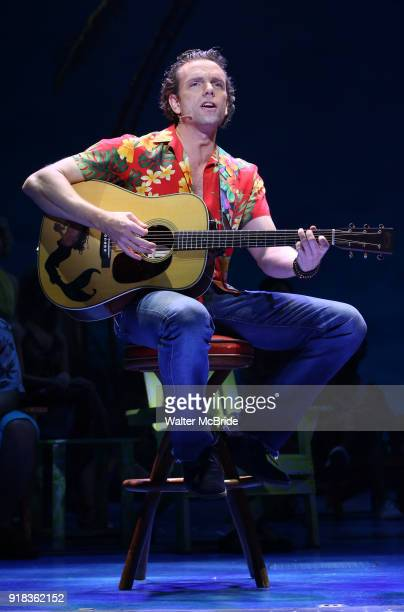 Paul Alexander Nolan performs at the Press Sneak Peak for the Jimmy Buffett Broadway Musical 'Escape to Margaritaville' on February 14 2018 at the...