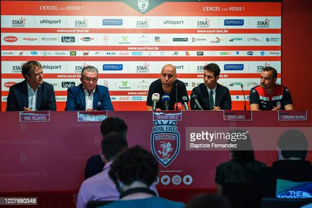 Paul ALLAERTS Patrick DECLERCK president of Mouscron and Gerard LOPEZ president of Lille Diego LOPEZ and Fernando DA CRUIZ during a press conference...
