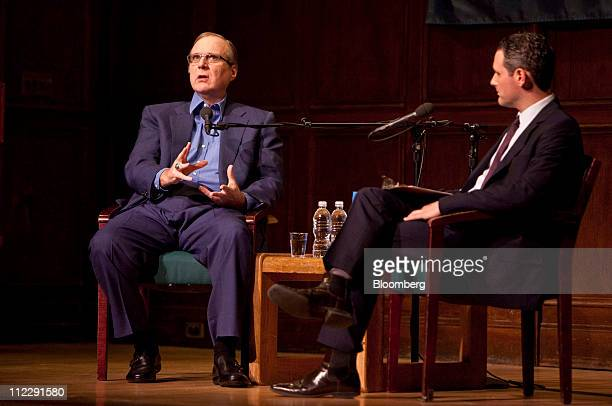 Paul Allen, co-founder of Microsoft Corp., left, speaks as Josh Tyrangiel, editor of Bloomberg BusinessWeek, listens during a Bloomberg BusinessWeek...