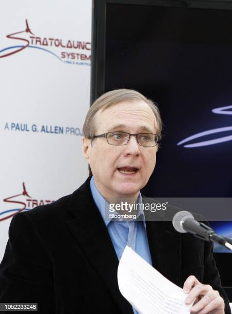 Paul Allen cofounder of Microsoft Corp speaks at a news conference for the launch of his new venture Stratolaunch Systems Inc in Seattle Washington...