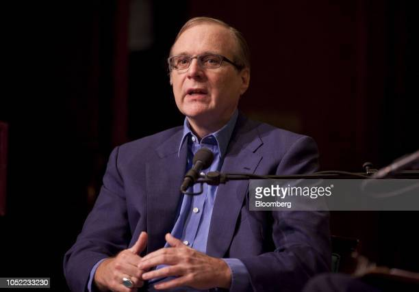Paul Allen cofounder of Microsoft Corp speaks during a Bloomberg BusinessWeek Captains of Industry event in New York US on Sunday April 17 2011 Allen...