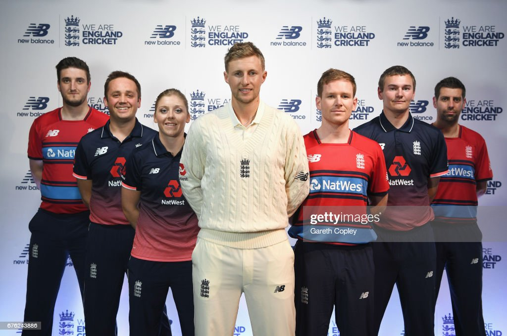 Paul Allen, Ian Nairn, Heather Knight, Joe Root, Eoin Morgan, Chris Edwards and Matthew Dean of England pose during the New Balance England Cricket Kit Launch at the New Balance store, Oxford Street on May 2, 2017 in London, England.
