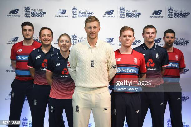 Paul Allen Ian Nairn Heather Knight Joe Root Eoin Morgan Chris Edwards and Matthew Dean of England pose during the New Balance England Cricket Kit...