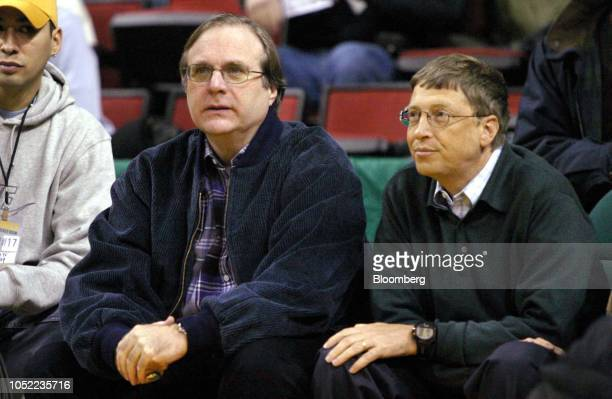 Paul Allen owner of the Portland Trail Blazers and cofounder of Microsoft Corp left sits with Bill Gates chairman and cofounder of Microsoft Corp...