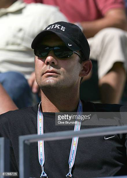 Paul Anacone Tim Henman 's coach watches the match against Nicolas Kiefer of Germany during the US Open September 6 2004 at the USTA National Tennis...