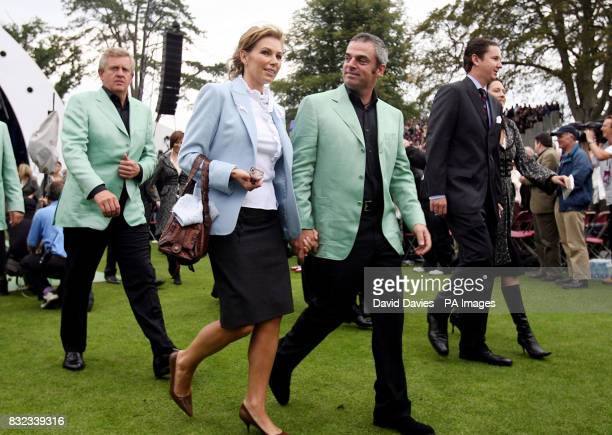 Paul and Alison McGinley leave the opening ceremony of the 36th Ryder Cup at the K Club Co Kildare Ireland The tournament will get underway at the K...