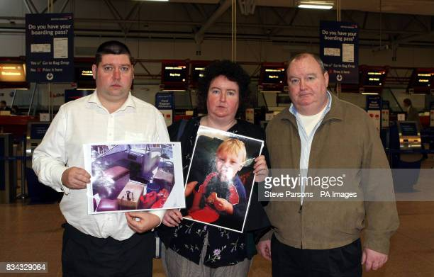 Paul and Andrea Gallagher and Paul's Uncle John McGuckion from Orpington Kent speak to media at Heathrow Airport's Terminal 4 ahead of flying to the...