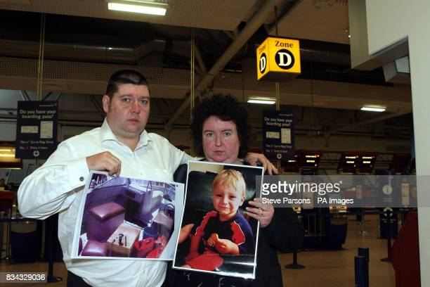 Paul and Andrea Gallagher from Orpington Kent at Heathrow Airport's Terminal 4 ahead of flying to the Bahamas to give evidence at the trial of three...