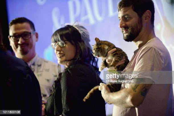 Paul and Colleen get married as Lil Bub and Mike Bridavsky look on at CatCon Worldwide 2018 at Pasadena Convention Center on August 5 2018 in...