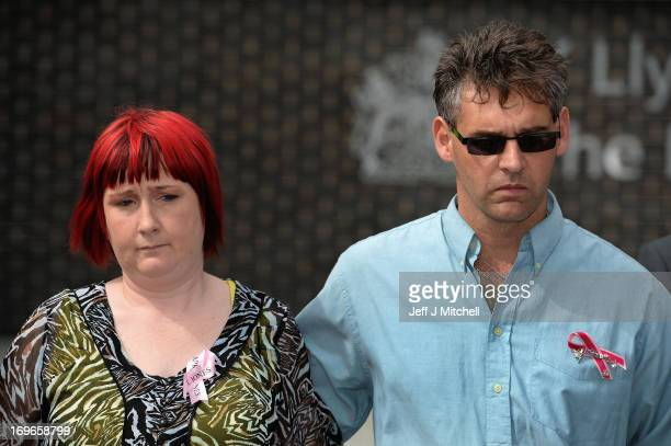 Paul and Coral Jones the parents of April Jones make a statement outside Mold Magistrates Court after Mark Bridger was found guilty of the murder of...
