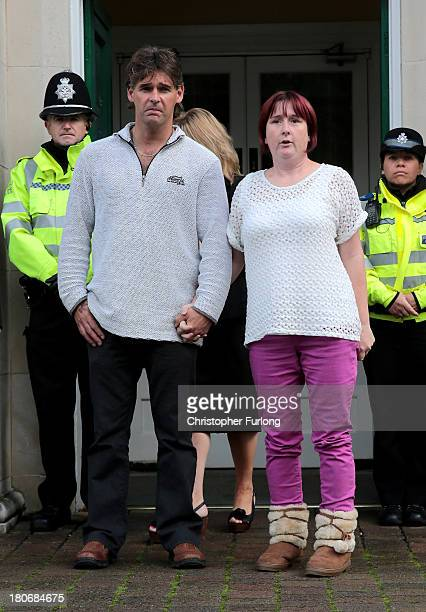 Paul and Coral Jones the parents of murdered schoolgirl April Jones leave Powys Council Offices after the inquest into their daughter's death on...