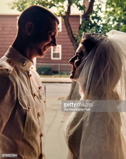 Paul and Kathryn Barents in a copy of a photo taken on their wedding day will be attending a 50th anniversary reunion of his 1967 Marine Corps...