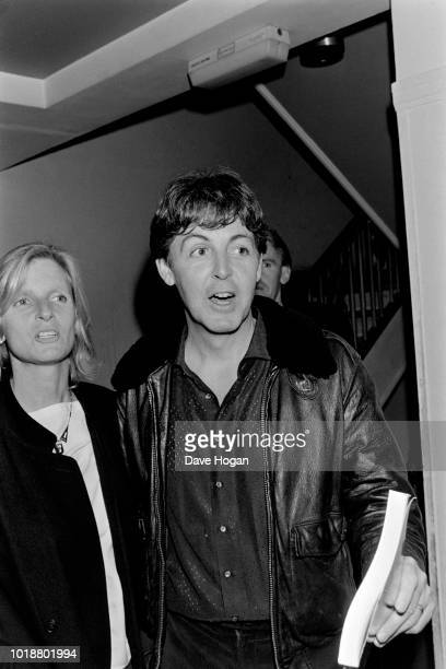 Paul And Linda McCartney are seen at Abbey Road Studios in London, December 1982.