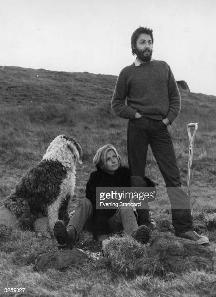Paul and Linda McCartney on their farm near the fishing town of Campbeltown, with their dog Martha, Scotland, UK, February 1971.