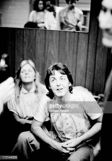 Paul And Linda McCartney Talking To Mick Jagger Of The Rolling Stones Backstage At Palladium