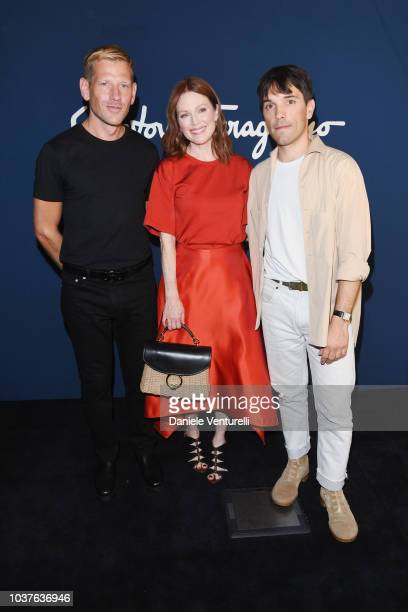 Bart Freundlich and Julianne Moore attend the Salvatore Ferragamo show during Milan Fashion Week Spring/Summer 2019 on September 22 2018 in Milan...