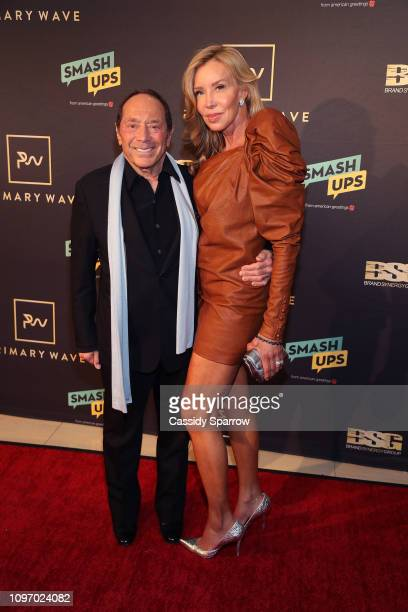 Paul Anka and Lisa Pemberton attend Primary Wave 13th Annual PreGRAMMY Bash at The London West Hollywood on February 9 2019 in West Hollywood...