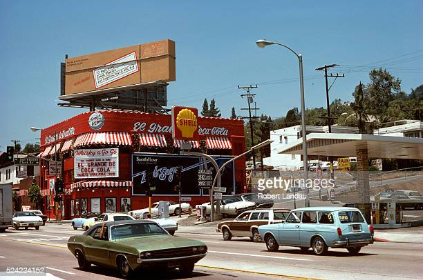 A Paul Anka billboard looks like a wrapped parcel sitting on top of the Whiskey A Go Go night clup on the Sunset Strip