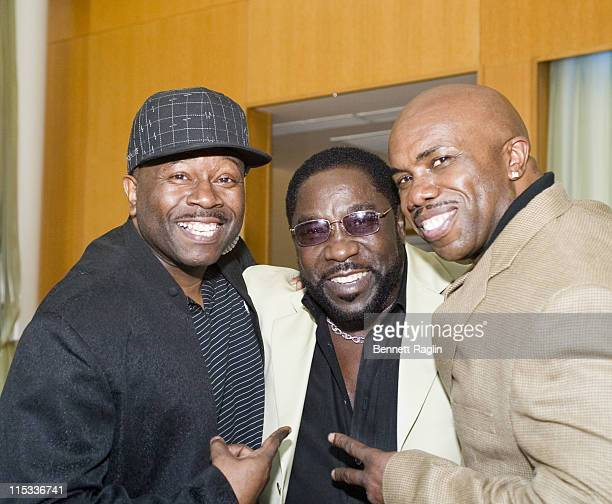 Paul Anthony Eddie Levert and Bow Legged Lou during Eddie Levert Signs Copies of His New Book I Got Your Back June 4 2007 at The River Room in New...