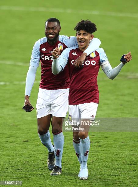 Paul Appiah and Kaine Kesler-Hayden of Aston Villa celebrate victory during the FA Youth Cup Final between Aston Villa U18 and Liverpool U18 at Villa...