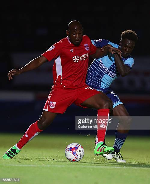 Paul Arnold Garita of Bristol City and Anthony Stewart of Wycombe Wanderers during the EFL Cup match between Wycombe Wanderers and Bristol City at...