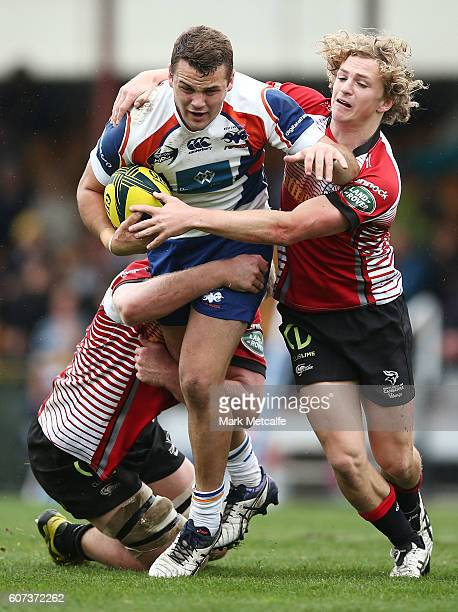 Paul Asquith of the Rams is tackled during the round four NRC match between the Canberra Vikings and the Western Sydney Rams at Viking Park on...