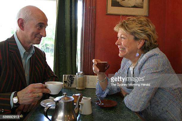 Paul Attenbury and Hilary Kay from the long running British TV series The Antiques Roadshow sitting in Badde Manors Cafe in Glebe enjoying cake...
