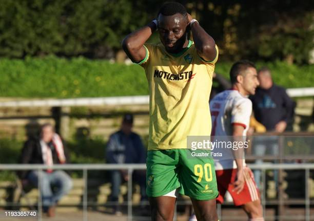 Paul Ayongo of CD Mafra reaction after missing a goal opportunity during the Liga Pro match between CD Mafra and UD Vilafranquense at Estadio do...
