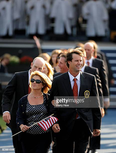 Paul Azinger captain of the USA team walks out with his wife Toni and his team after the opening ceremony for the 2008 Ryder Cup at Valhalla Golf...