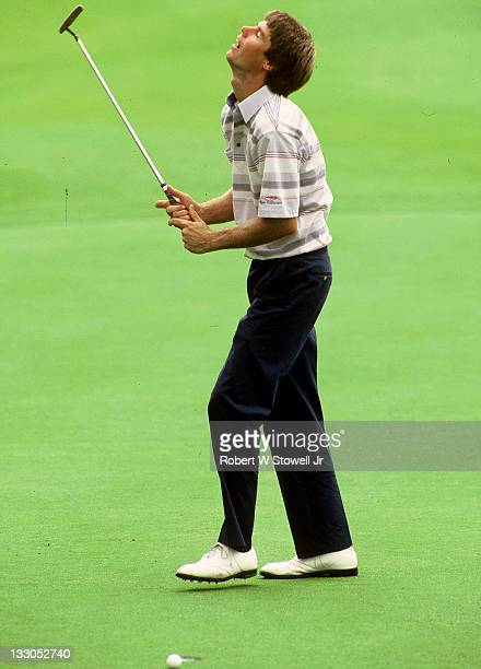 Paul Azinger expresses his disappointment after missing a short put during the Canon Greater Hartford Open Cromwell CT 1987
