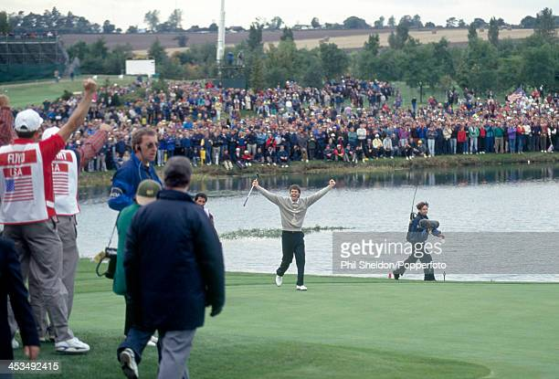 Paul Azinger of the United States team acknowledges the crowd during the Ryder Cup golf competition held at The Belfry Warwickshire 26th September...