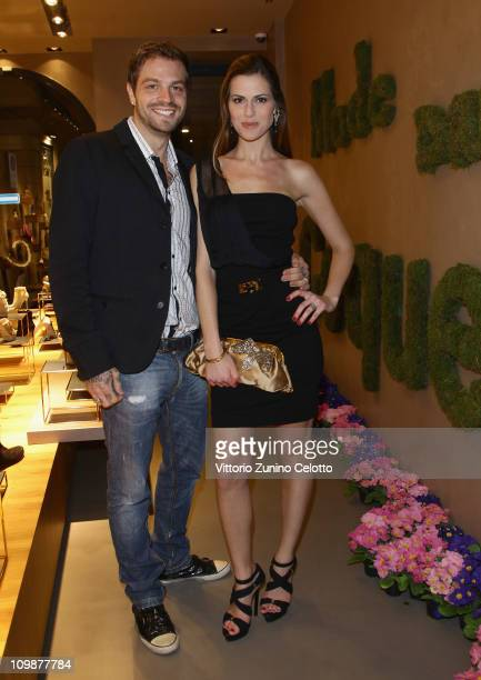 Paul Baccaglini and Thais Wiggers attend the Le Silla Flagship Store Opening on March 8 2011 in Milan Italy