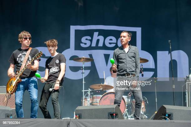 Paul Banks Duke Witter and Rick Witter of Shed Seven perform on stage during TRNSMT Festival Day 2 at Glasgow Green on June 30 2018 in Glasgow...