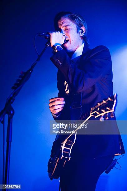 Paul Banks of Interpol performs on stage at Brixton Academy on December 6 2010 in London England