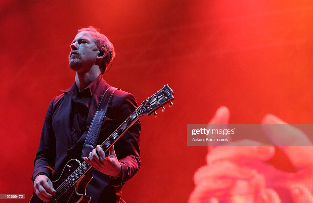 Paul Banks of Interpol performs on stage at Splendour In the Grass 2014 on July 25, 2014 in Byron Bay, Australia.